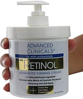 Advanced Clinicals Retinol Cream. Spa Size for Salon Professionals. Moisturizing Formula Penetrates Skin to Erase the Appearance of Fine Lines & Wrinkles. Fragrance Free. (16oz)