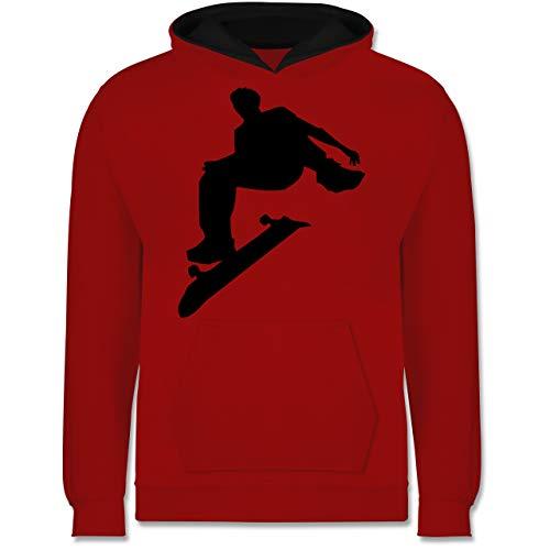 Sport Kind - Skater - 116 (5/6 Jahre) - Rot/Schwarz - Hoody Kinder Jungen - JH003K - Kinder Kontrast Hoodie
