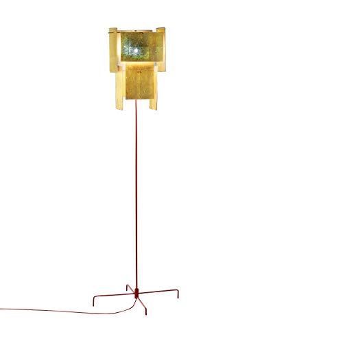 24 karaat blauw staande lamp, gouden trekschakelaar frame rood LxBxH 53x53x167cm