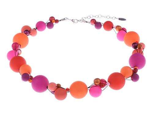"""Adi Modeschmuck große Halskette """"Amelia"""", auffallende verflochtene Mischung aus Polaris-, Acryl- und Glasperlen in attraktiven Farbkombinationen, handgefertigt in Berlin (Orange, Pink- und Rottöne)"""