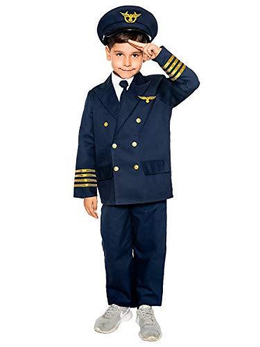 Maskworld Realistisches Piloten Kinder-Kostüm - Verkleidung Uniform Anzug für kleine Flugzeugführer - Karneval Fasching & Halloween - Größe 104