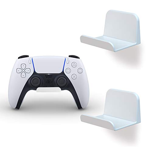 REEYEAR Game Controller Holder Stick on Wall Mount for Universal PS5/PS4 Xbox One X Steam/Nintendo Switch/PC Video Game Controller/ Switch Ring Stand Hanger Headset Holder 2 Pack White