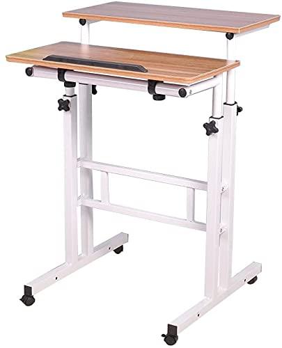 DlandHome Carro de Escritorio Sentado & de Pie Mesa de Escritorio móvil de Altura Ajustable para Sentarse Mesa Vertical de pie Escritorio móvil de la estación de Trabajo, Robl