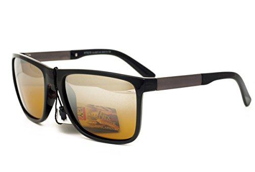 Matrix Drive Night Collection - Gafas polarizadas para hombre, conductores, pesca, deporte, lentes amarillas con espejo claro - marco de plástico