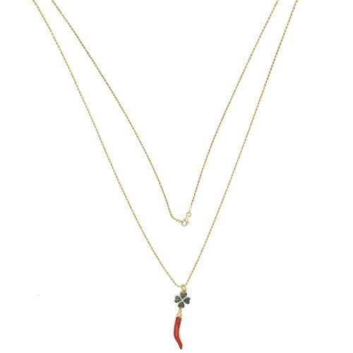 Elletre Lucky Horn Necklace in Red Coral and Clover in Sterling Silver .925 Zirconia - Made in Italy