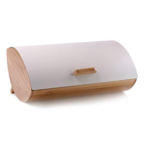 DecoKing 51443 Brotkasten aus Bambus und Stahl hochwertige aromadichte Brotbox Creme Cosmic