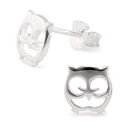 Monkimau Damen Ohrringe Eule Ohrstecker aus 925 Sterling Silver Silber