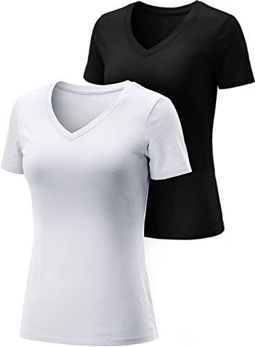 Tsla - Pack de 2 camisetas para mujer con cuello en V, fresca y seca de manga corta, camiseta deportiva de algodón Dyna, Fts30 - Juego de 2 botes de tinta, color blanco y negro, extra-large