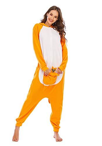 Unisexo Adulto Animal Pijama Cosplay Disfraz con Capucha Onesies Kigurumi Pyjama Homewear Mamelucos Ropa De Dormir para Carnaval Halloween,LTY56,Canguro,XL
