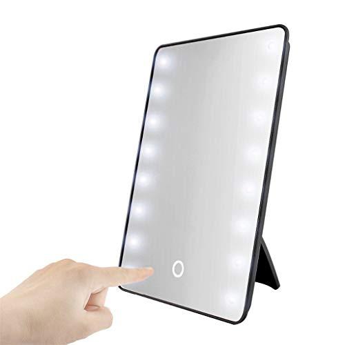 Verlichte kleine make-up spiegel met LED Bright Lights, 16 dimbare lampen, Touch Control Adapter en Powered Zwart