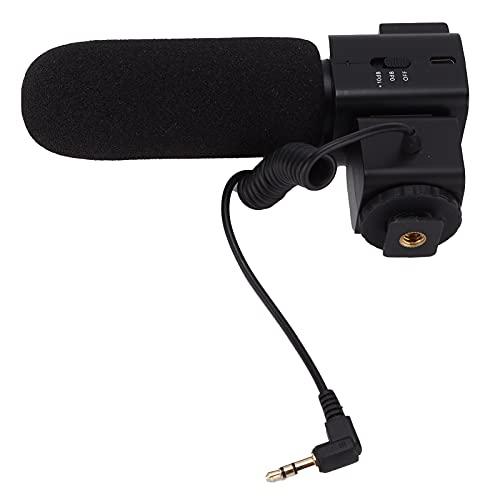 Micrófono de Escopeta Supercardioide con Soporte de Zapata Fría para Cámaras Sony/Canon/Nikon para Grabación en Vivo, Entrevistas de Programas, Etc.