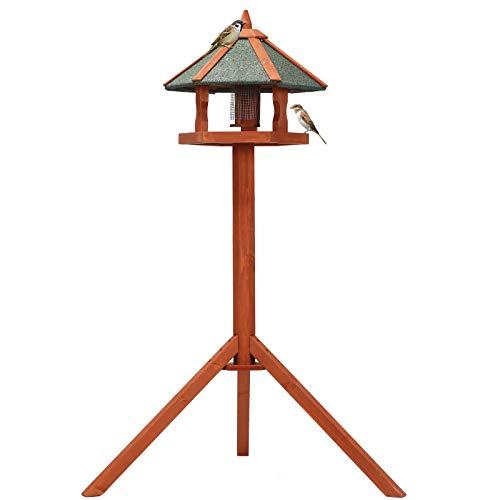Petsfit Futterhaus/Vogelhaus für Vögel mit Ständer aus Holz Vogelhäuschen Vogelfutterhaus mit Strukturputzdach (Medium:124cm Height, Golden Red)