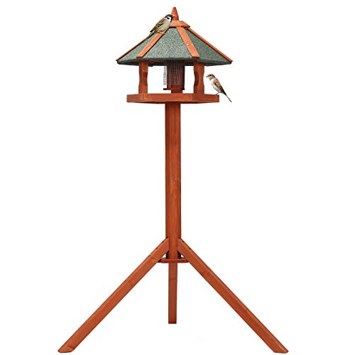 Petsfit Bird Tables,Wooden Bird Tables for the Garden Free Standing with Asphalt Shingles, Assembled Bird Table,Bird House for garden,Bird feeder standing