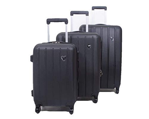 Set of 3 Light Weight Hardshell 4 Wheel Travel Trolley Suitcase Luggage Set Holdall Case Spinner (Black)