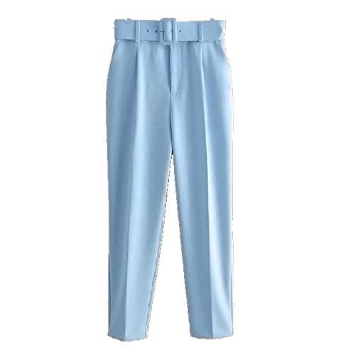 N\P Pantalones casuales para mujer con cinturón y cinturón para mujer