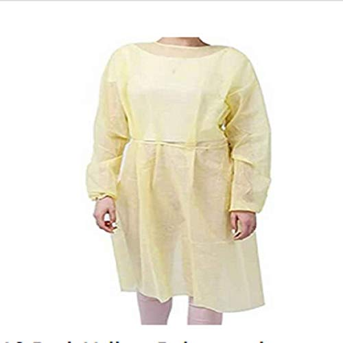 10 Pcs Medical Isolation Gowns with Elastic Cuffs, Yellow Protective Gowns with Long Sleeves, Neck and Waist Ties, Non-sterile Examination Gowns, Splash Resistant, Latex-Free