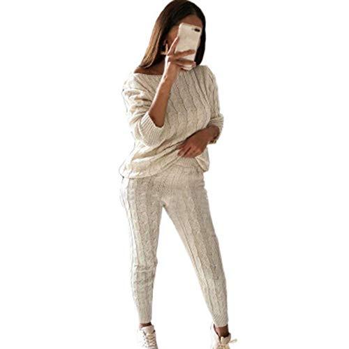 Shujin Damen 2 Stück Strickanzug Bekleidung Set Outfits aus Langarm Schulterfrei Strickpullover und Paket Hüfte Hosen Beiläufig Outfit Freizeitanzug Sportanzug Loungewear Pullover Suit