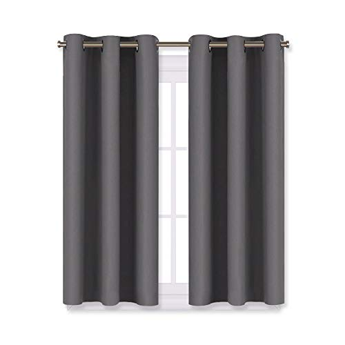 NICETOWN Grey Blackout Curtain Panels for Bedroom, Thermal Insulated Grommet Top Blackout Draperies and Drapes (2 Panels, W29 x L45 inches, Grey)