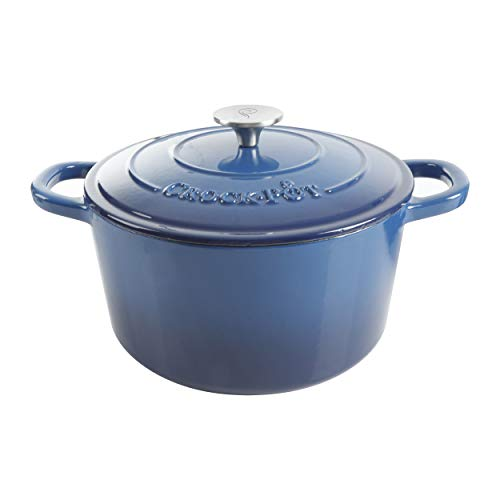 Crock-Pot Artisan Round Enameled Cast Iron Dutch Oven, 5-Quart, Blue