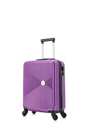 Flymax 55x35x20 4 Wheel Super Lightweight Cabin Luggage Suitcase Hand Carry on Flight Travel Bags Approved On Board Fits Flybe Easyjet Ryanair Jet 2 BA Purple