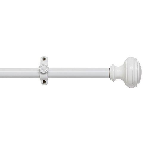 "Achim Home Furnishings White, Buono II Decorative Rod & Finial Bradford, 66"" up to 120"""