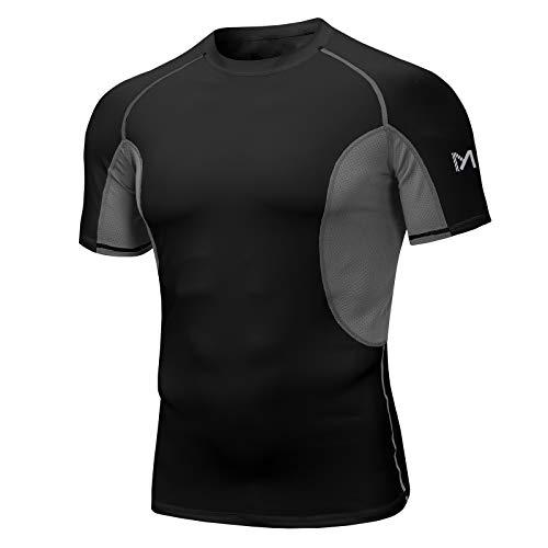 MEETYOO Camiseta Compresion Hombre, T-Shirt Manga Corta Ropa Deportiva Base Layers Camisetas para Running Gym Fitness