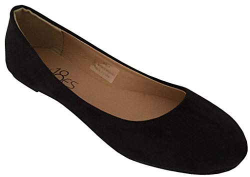 Shoes 18 Womens Classic Round Toe Ballerina Ballet Flat Shoes 8600 Black Micro 7.5