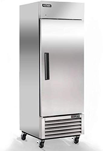 Single Door Commercial Refrigerator, Stainless Steel Upright Fridge with 3 Adjustable Shelves, 23...