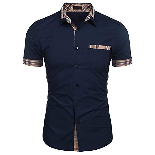 Camisa Hombre Negocios Casual Trabajo Hombre Manga Corta Kent Collar Henry Camisa Verano Slim Fit Cómodo Clásico Básico Hombres Camisa Casual E-Blue M