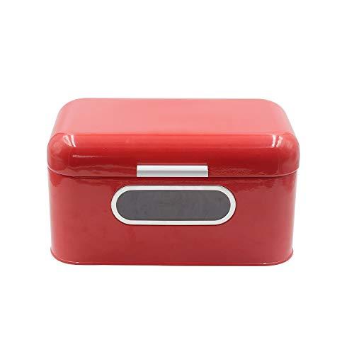 4W Bread Box Metal Bread Container for Kitchen Countertop, Farmhouse Decor Bread Storage for Homemade Bread, Pastries, Dinner Rolls, Vintage Retro Design