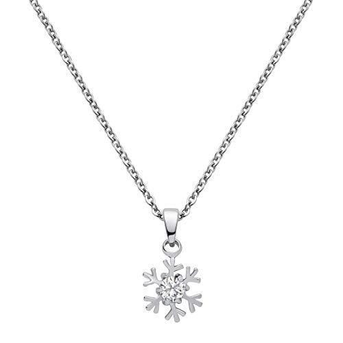 Perlkönig K-871 Kette Halskette | Damen Frauen | Schneeflocke | Silber Farben | Glitzer Stein | Nickelabgabefrei