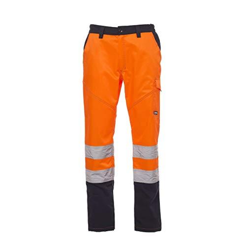 PAYPER Charter Pantalone da Uomo multistagione da Lavoro Misto Cotone Chiusura Zip Alta visibilità Tasche Anteriori Laterali Posteriori (Arancione Fluo/Blu Navy, L)