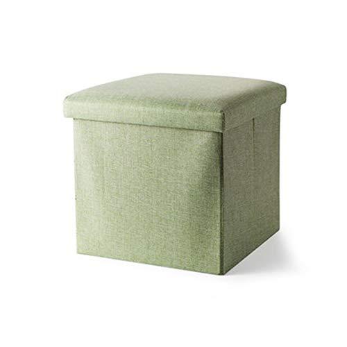 LFF Coffre de Rangement Pliant, Repose-Pieds Repose-Pieds Ottoman Siège de Pique-Nique Portable Polyvalent Cubes Gain d'espaceMax 120 kg Linenette 38 x 38 x 38 cm (Couleur : Vert)