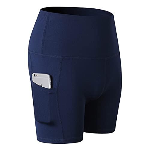 Pantalones Cortos para Mujer Color sólido Simple Ocio con Bolsillos Entrenamiento para Correr Pantalones Cortos de 3 Puntos de Estiramiento y Secado rápido Ajustados M