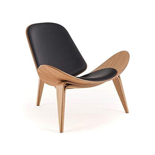 KJGHJ Ichlige Replica Wegner Shell Stuhl Neue ash holzstuhl mit schwarzem Leder polyholz Essen Stuhl für Wohnzimmer loungesessel