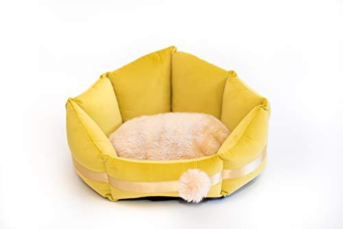 MOOI Hundebett Hundesofa Waschbar Hundekörbchen Exklusiv Katzenbett Haustierbett Hundekissen für kleine mittlere große Hunde I Flower I Yellow I M
