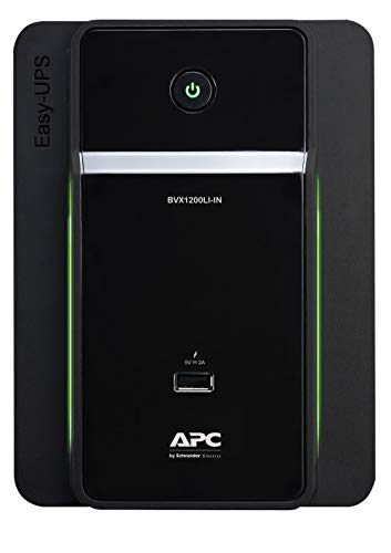 APC Easy UPS BVX1200LI-IN 1200VA / 650W, 230V, UPS System, an Ideal Power Backup & Protection for Home Office, Desktop PC & Home Electronics
