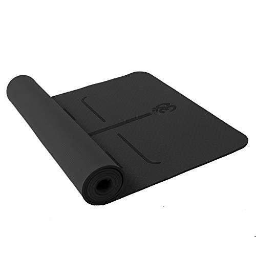 Esterilla de yoga antideslizante TPE Yoga Mats insípidos Pilates gimnasio ejercicio deporte sala de estar almohadillas para fitness culturismo (tamaño: 183 cm x 60 cm x 6 cm, color: negro)