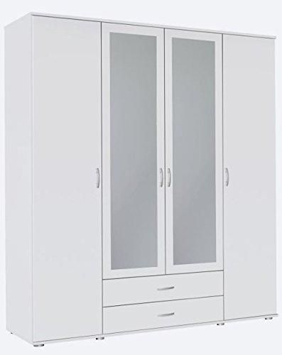 Kleiderschrank Sara 4-TRG weiß B 168 cm/H 188 cm Kinder Jugend Schlafzimmer Drehtüren Wäsche Spiegelschrank