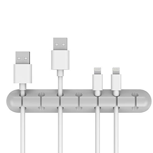 FDBRO ケーブルホルダー データケーブルオーガナイザー TPR材質 USBケーブル、充電ケーブル、電源コードの固定収納整理に使用 ケーブルドロップ ケーブルクリップ 3個セット (3スロット、5スロットと7スロットを含む)(灰)