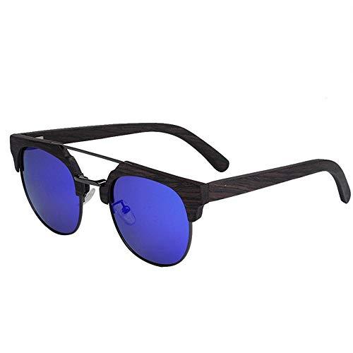 GY-HHHH Gafas de sol de medio marco con montura de madera maciza - gafas de sol de viaje de vacaciones - Gafas protectoras UV400 - campo de visión HD-azul