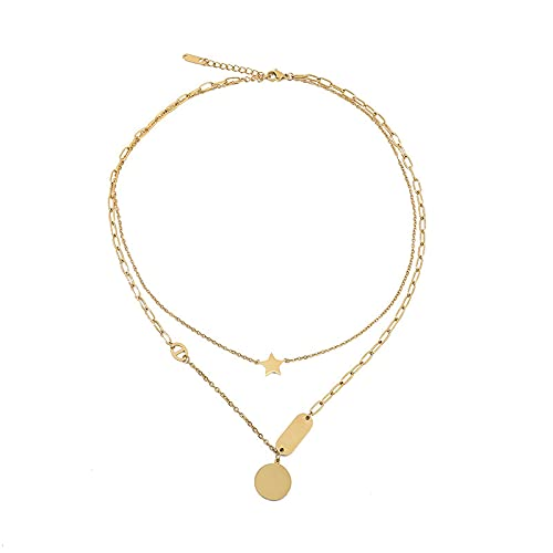 wangk Estilo Europeo y Americano exagerado Collar de Acero de Titanio de Doble Capa Colgante de Medalla Redonda Femenina 18K Tendencia de Oro Nuevo