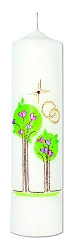 Hochzeitskerze Lebensbäume, Kreuz und Ringe