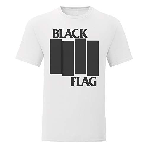LaMAGLIERIA Herren-T-Shirt Black Flag Stripes Logo Black Print - 100% Baumwolle, XL, Weiß