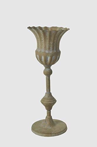 Dekoschale Kelch Gusseisen Schale Pokal H 32 cm Teelichthalter Amphore Libretto Gr. L Vintage Shabby Chic