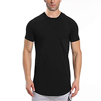 LETAOTAO Mens Hipster Longline T-Shirt Drop Cut Scallop Long Tail Slim Fit Bodybuilding Gym Muscle Workout Tee  XL Black 970