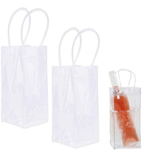 2er Pack Wein Eisbeutel, langlebig, klarer PVC Champagnerbeutel, Kühltasche mit Griff (transparent)