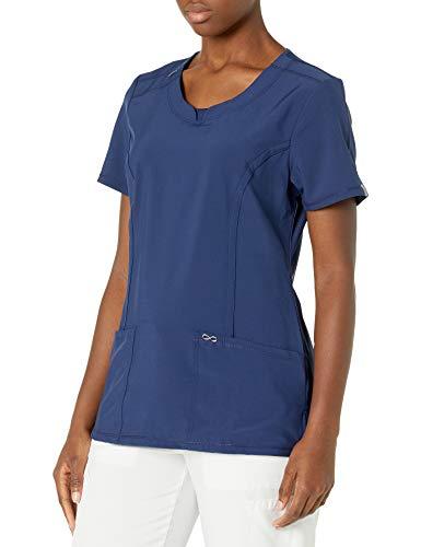 CHEROKEE Women's Infinity Crew Neck Scrubs Shirt, Navy, Medium
