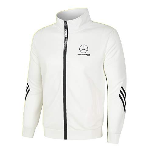 Dawnc Hombre Cárdigan Chándal Chaqueta, Mercedes-Benz Jogging Traje con Cremallera y Cuello Alto, Hombres de Ropa Deportiva (XL,White)