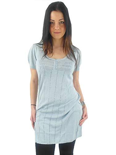 Koffie originele tuniek jurk Lily Knit Dress lichtblauw korte mouwen ronde hals